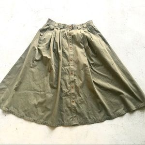 Vintage Army Green Button Pleat Midi Skirt A-line